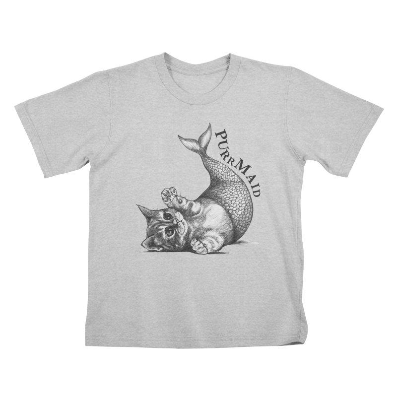 Purrmaid | Cat + Mermaid Hybrid Animal Kids T-Shirt by Whatif Creations | Shop Hybrid Animals!