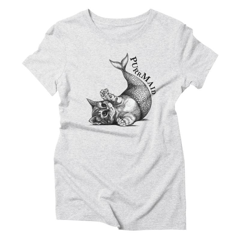 Purrmaid | Cat + Mermaid Hybrid Animal Women's T-Shirt by Whatif Creations | Shop Hybrid Animals!