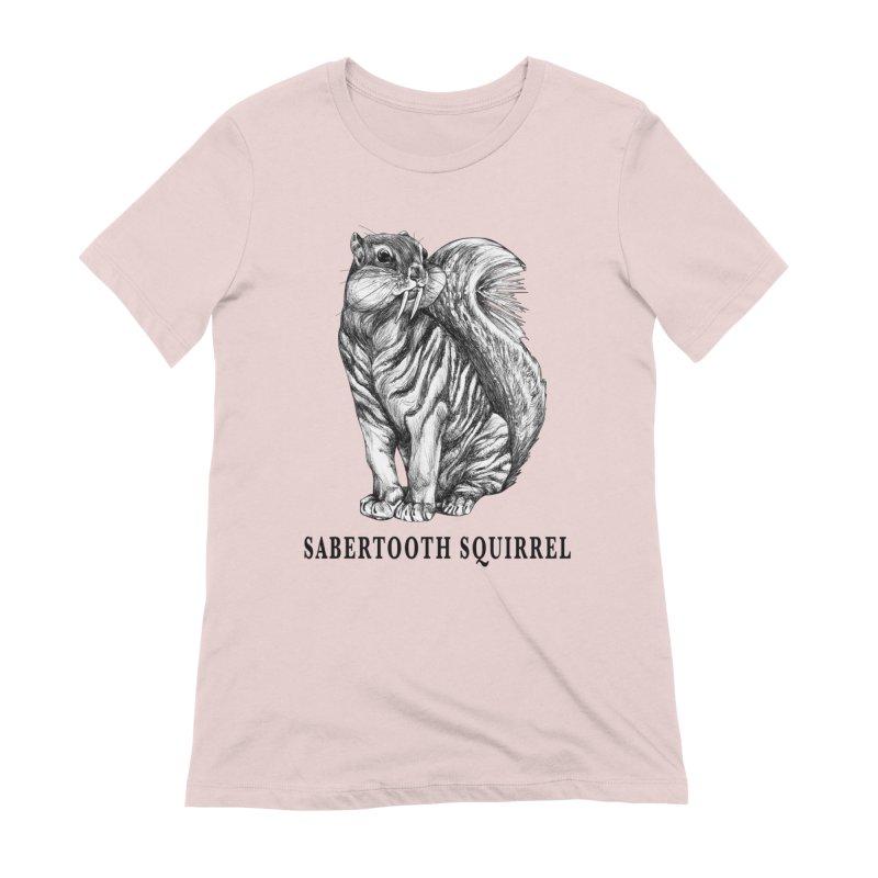 Sabertooth Squirrel | Sabertooth Tiger + Squirrel Hybrid Animal Women's T-Shirt by Whatif Creations | Shop Hybrid Animals!