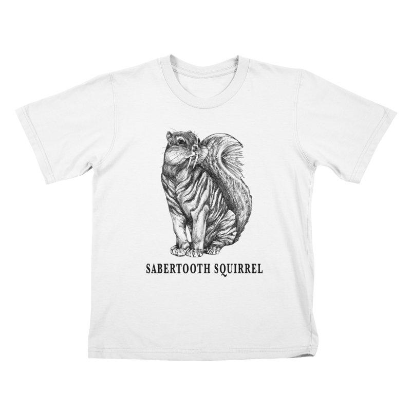 Sabertooth Squirrel | Sabertooth Tiger + Squirrel Hybrid Animal Kids T-Shirt by Whatif Creations | Shop Hybrid Animals!
