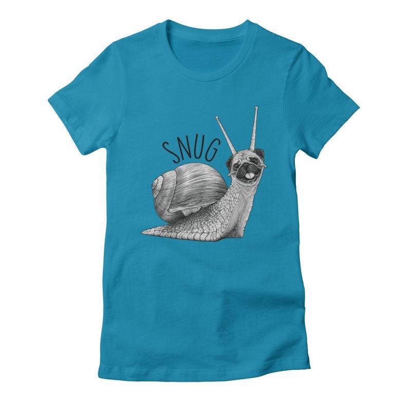 Snug   Snail + Pug Hybrid Animal Women's T-Shirt by Whatif Creations   Shop Hybrid Animals!