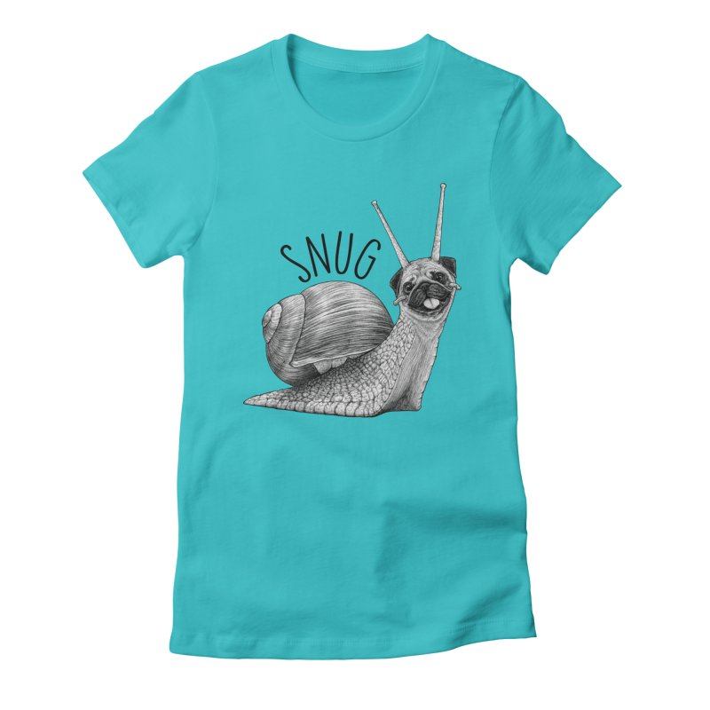 Snug | Snail + Pug Hybrid Animal Women's T-Shirt by Whatif Creations | Shop Hybrid Animals!