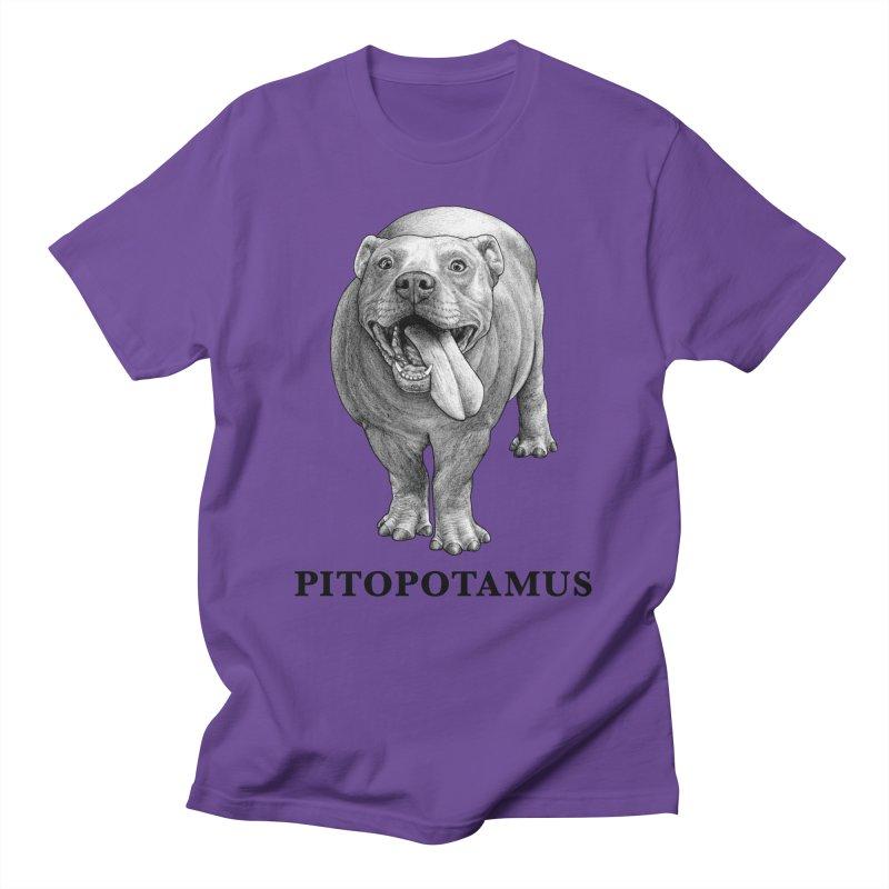 Pitopotamus   Pitbull + Hippopotamus Hybrid Animal Men's T-Shirt by Whatif Creations   Shop Hybrid Animals!