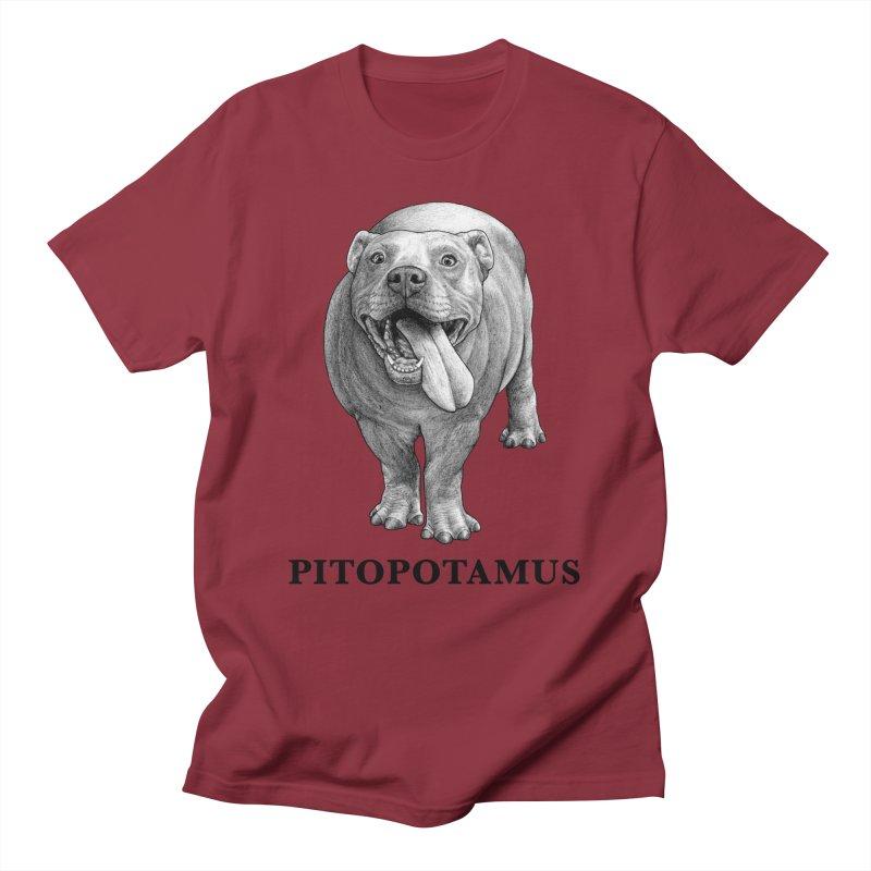 Pitopotamus | Pitbull + Hippopotamus Hybrid Animal Men's T-Shirt by Whatif Creations | Shop Hybrid Animals!