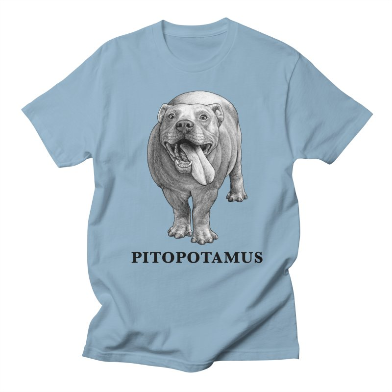 Pitopotamus | Pitbull + Hippopotamus Hybrid Animal Men's T-Shirt by Whatif Creations | Shop Hybrid Animals!