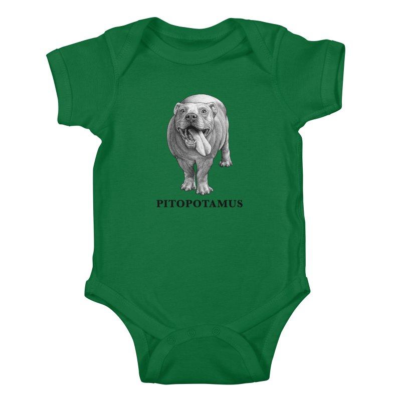 Pitopotamus | Pitbull + Hippopotamus Hybrid Animal Kids Baby Bodysuit by Whatif Creations | Shop Hybrid Animals!