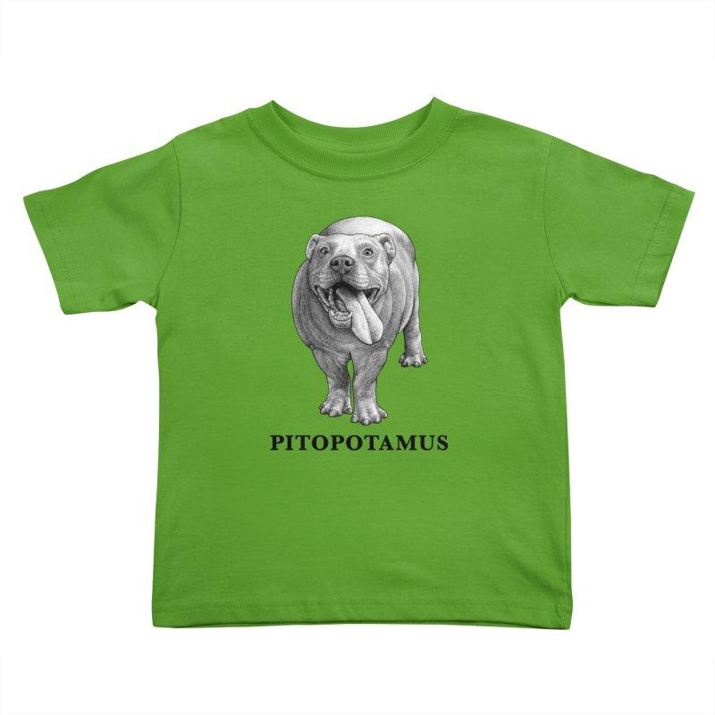 Pitopotamus | Pitbull + Hippopotamus Hybrid Animal Kids Toddler T-Shirt by Whatif Creations | Shop Hybrid Animals!