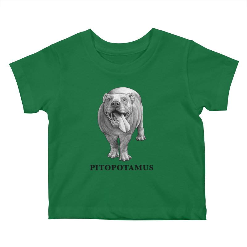 Pitopotamus | Pitbull + Hippopotamus Hybrid Animal Kids Baby T-Shirt by Whatif Creations | Shop Hybrid Animals!