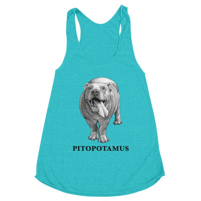 Pitopotamus | Pitbull + Hippopotamus Hybrid Animal Women's Tank by Whatif Creations | Shop Hybrid Animals!
