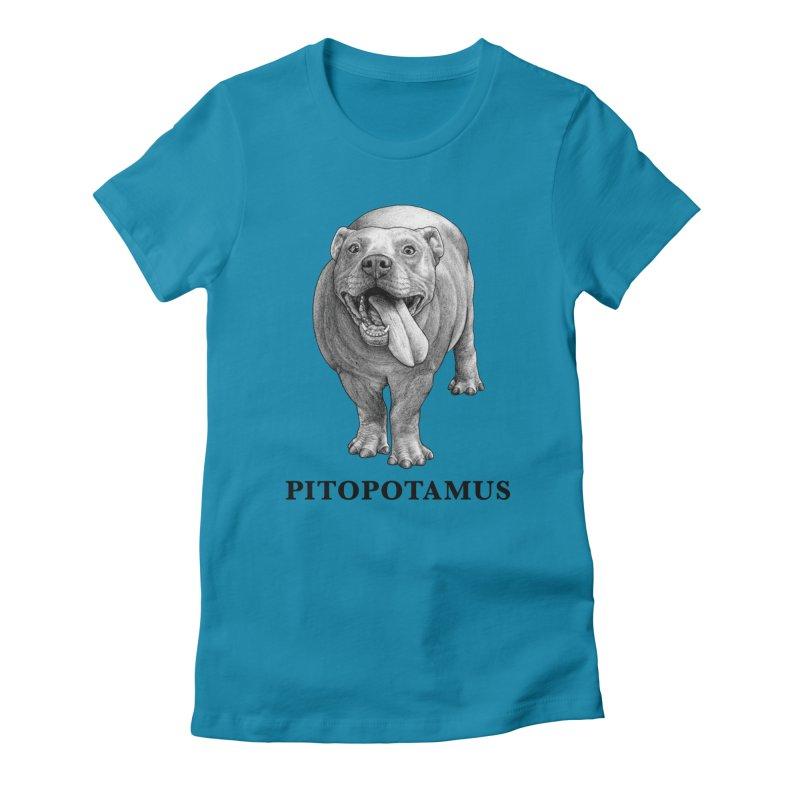 Pitopotamus   Pitbull + Hippopotamus Hybrid Animal Women's T-Shirt by Whatif Creations   Shop Hybrid Animals!