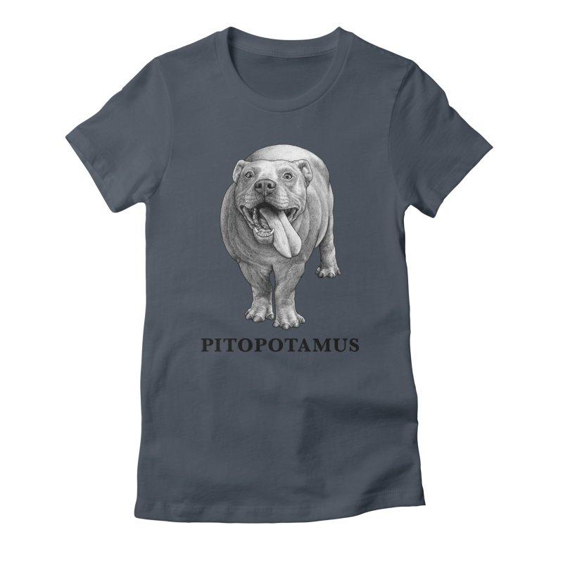 Pitopotamus | Pitbull + Hippopotamus Hybrid Animal Women's T-Shirt by Whatif Creations | Shop Hybrid Animals!