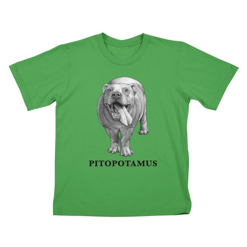 Pitopotamus | Pitbull + Hippopotamus Hybrid Animal Kids T-Shirt by Whatif Creations | Shop Hybrid Animals!