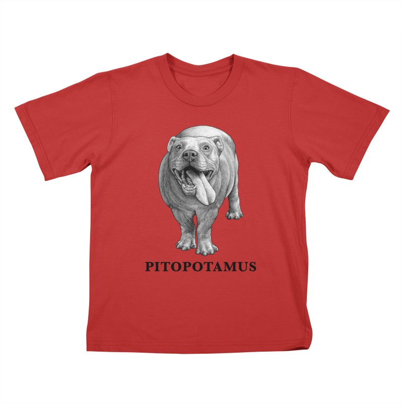 Pitopotamus | Pitbull + Hippopotamus Hybrid Animal Kids T-Shirt by Whatif Creations | Shop Hybrid Animals!