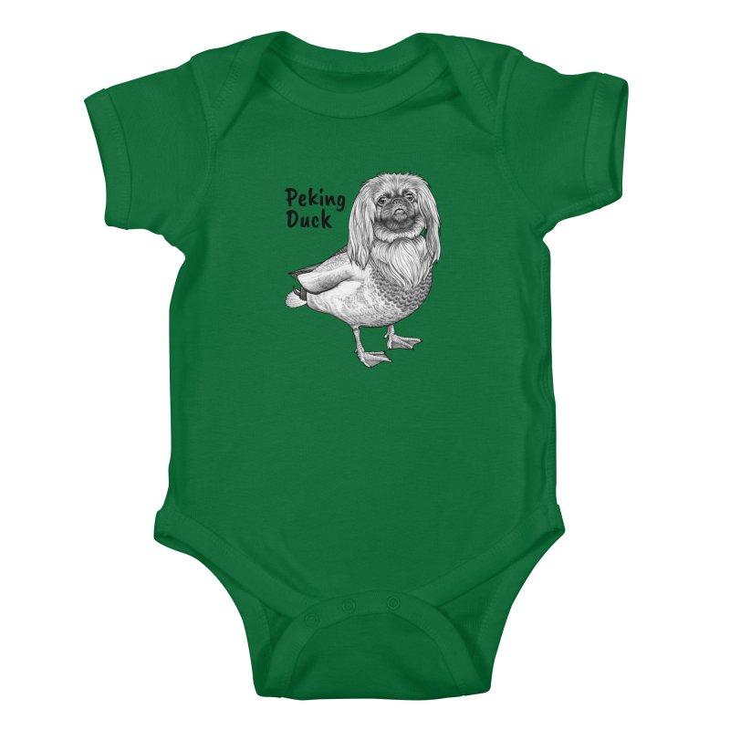 Peking Ducik | Pekingese + Duck Hybrid Animal Kids Baby Bodysuit by Whatif Creations | Shop Hybrid Animals!