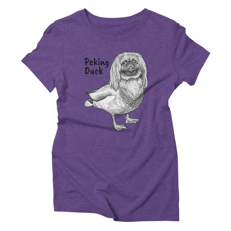 Peking Ducik | Pekingese + Duck Hybrid Animal Women's T-Shirt by Whatif Creations | Shop Hybrid Animals!