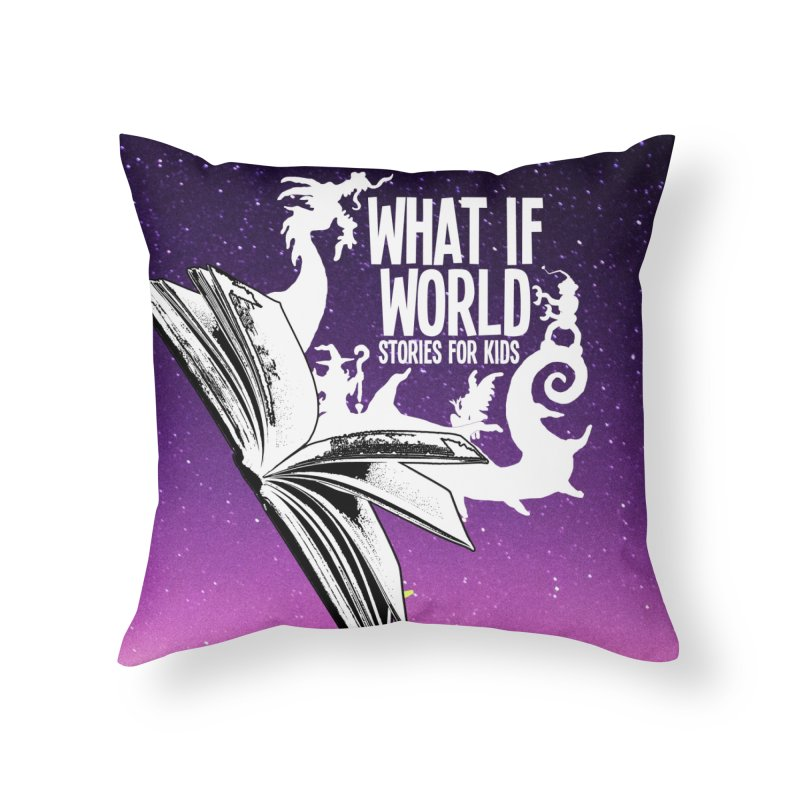 Book Logo - Purple Sky Home Throw Pillow by What If World's Imaginarium