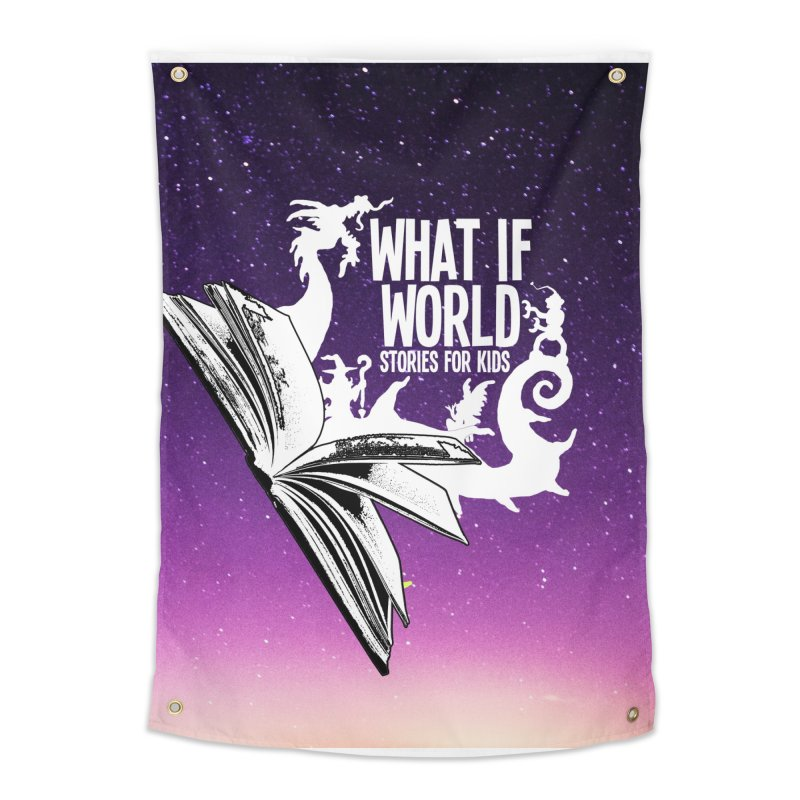 Book Logo - Purple Sky Home Tapestry by What If World's Imaginarium