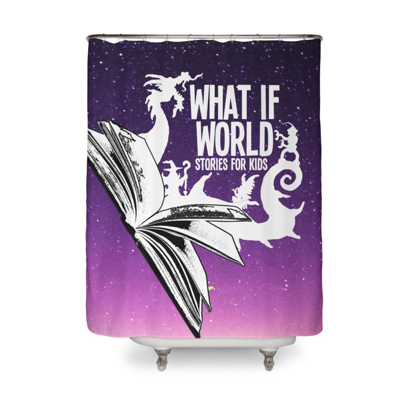 Book Logo - Purple Sky Home Shower Curtain by What If World's Imaginarium