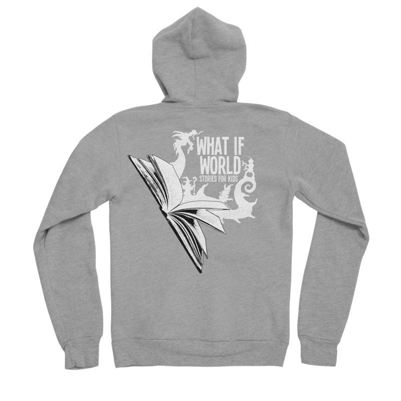 Book Logo - White Men's Sponge Fleece Zip-Up Hoody by What If World's Imaginarium