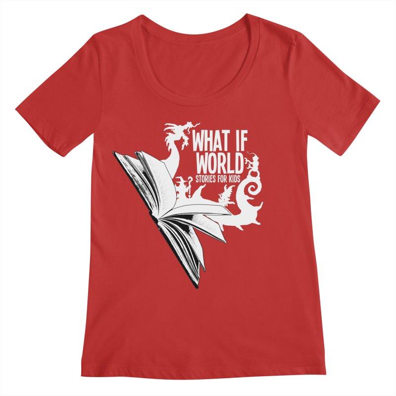 Book Logo - White Women's Regular Scoop Neck by What If World's Imaginarium