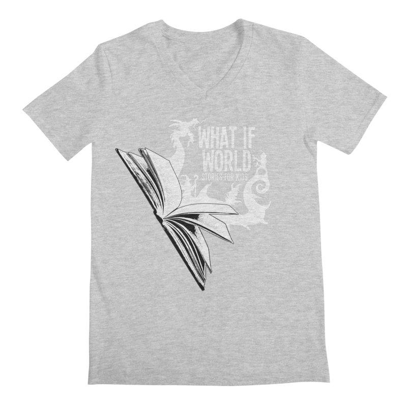 Book Logo - White Men's Regular V-Neck by What If World's Imaginarium