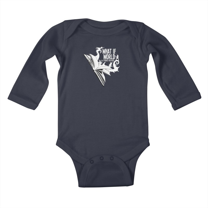 Book Logo - White Kids Baby Longsleeve Bodysuit by What If World's Imaginarium