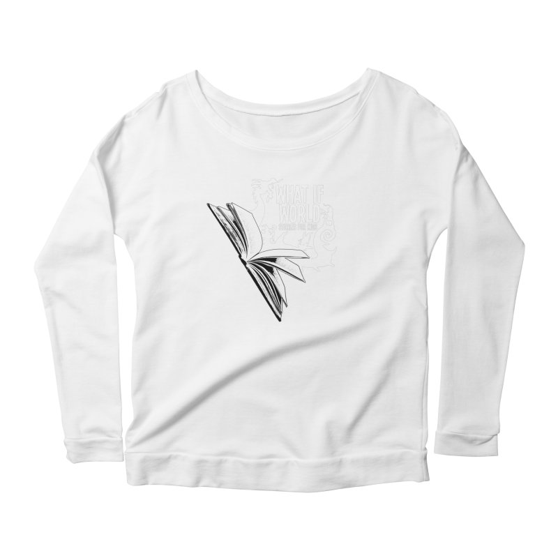 Book Logo - White Women's Scoop Neck Longsleeve T-Shirt by What If World's Imaginarium