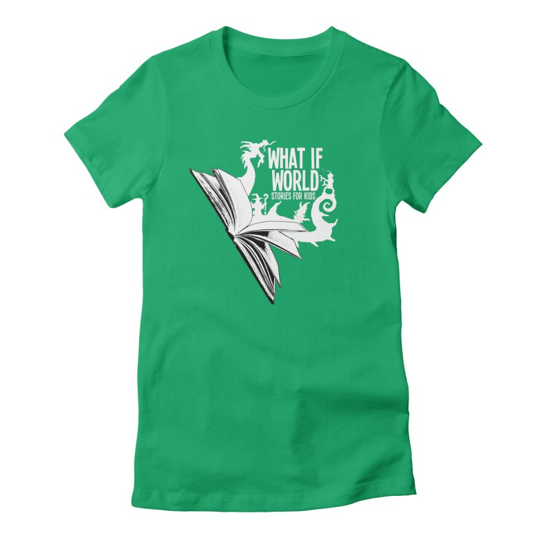 Book Logo - White Women's Fitted T-Shirt by What If World's Imaginarium