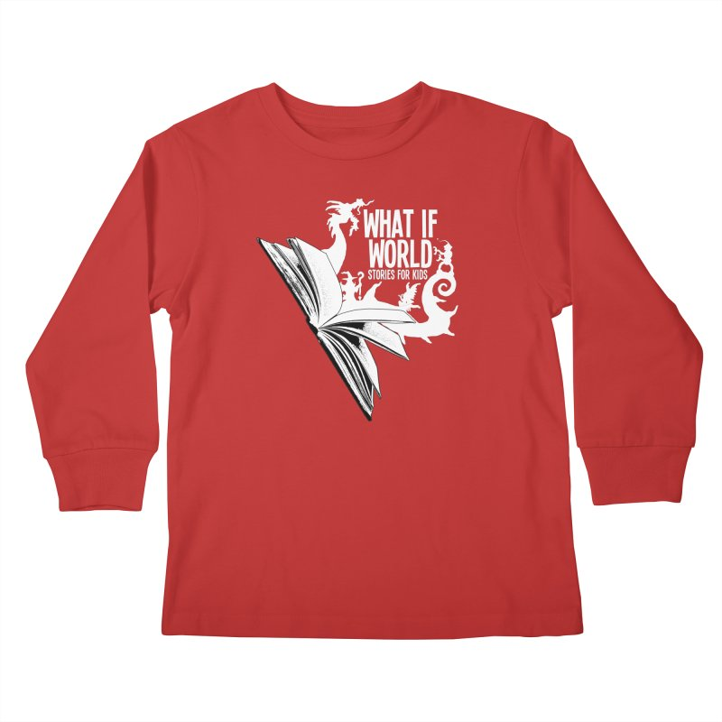 Book Logo - White Kids Longsleeve T-Shirt by What If World's Imaginarium