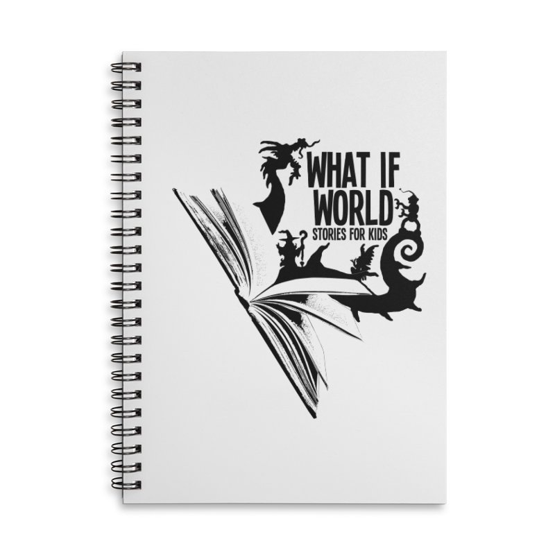 Book Logo - Black Accessories Lined Spiral Notebook by What If World's Imaginarium
