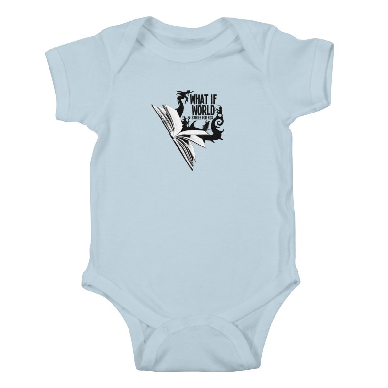 Book Logo - Black Kids Baby Bodysuit by What If World's Imaginarium