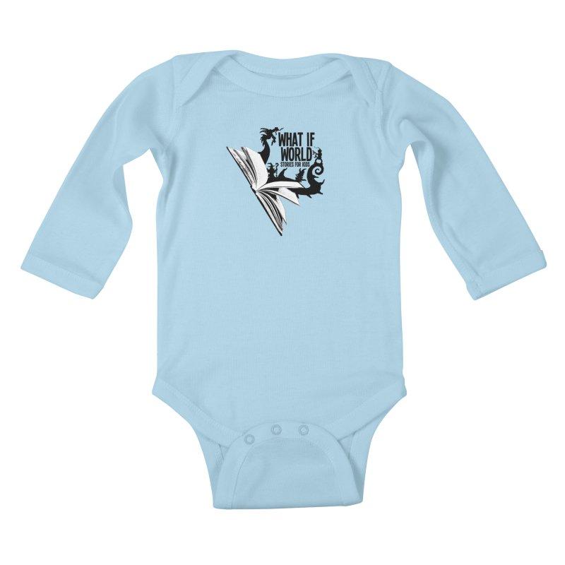 Book Logo - Black Kids Baby Longsleeve Bodysuit by What If World's Imaginarium