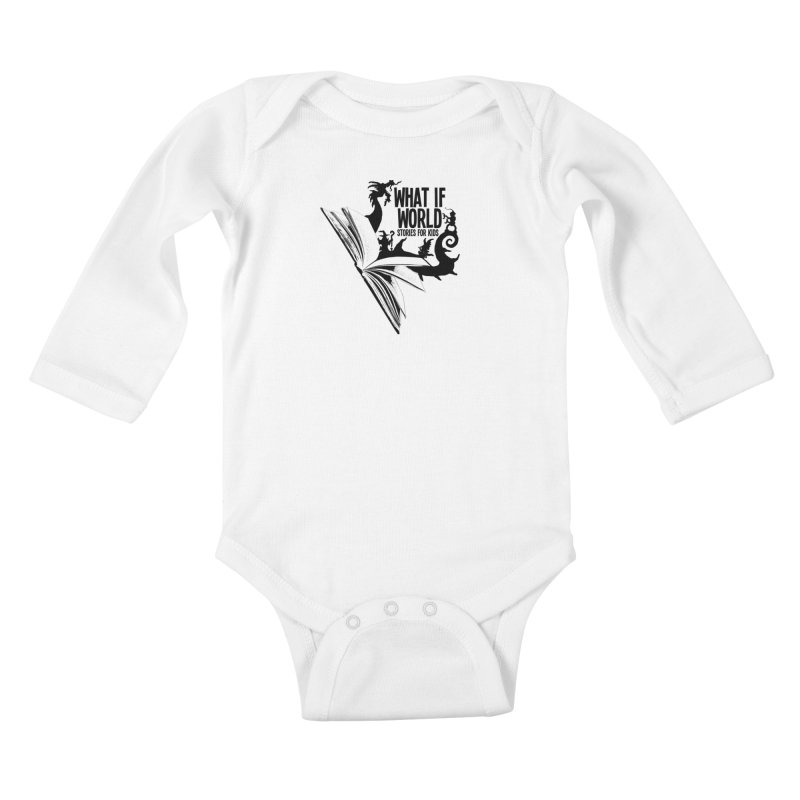 Book Logo - Black Kids Baby Longsleeve Bodysuit by What If World's Imaginarium