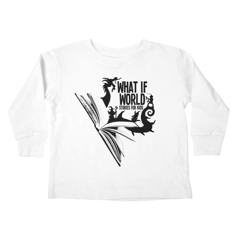 Book Logo - Black Kids Toddler Longsleeve T-Shirt by What If World's Imaginarium
