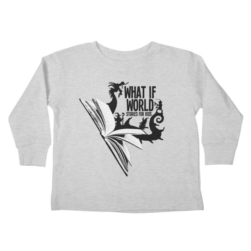 Book Logo - Black Kids Toddler Longsleeve T-Shirt by What If World's Imaginarium