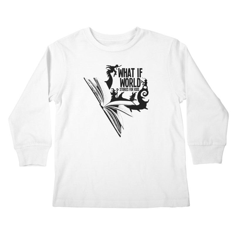 Book Logo - Black Kids Longsleeve T-Shirt by What If World's Imaginarium