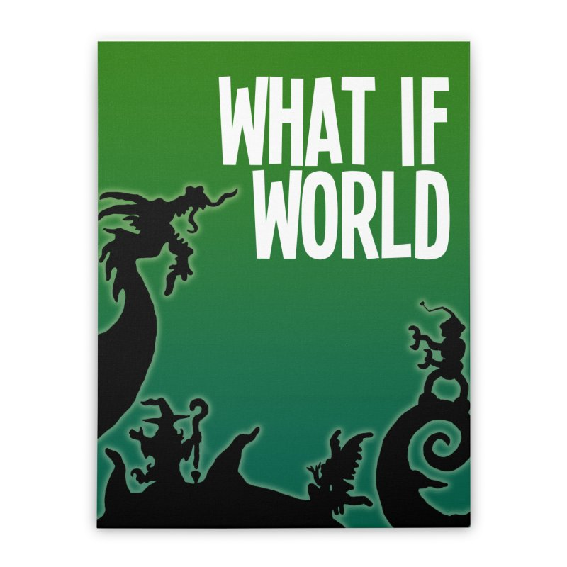What If World Silhouette Logo Home Stretched Canvas by What If World's Imaginarium