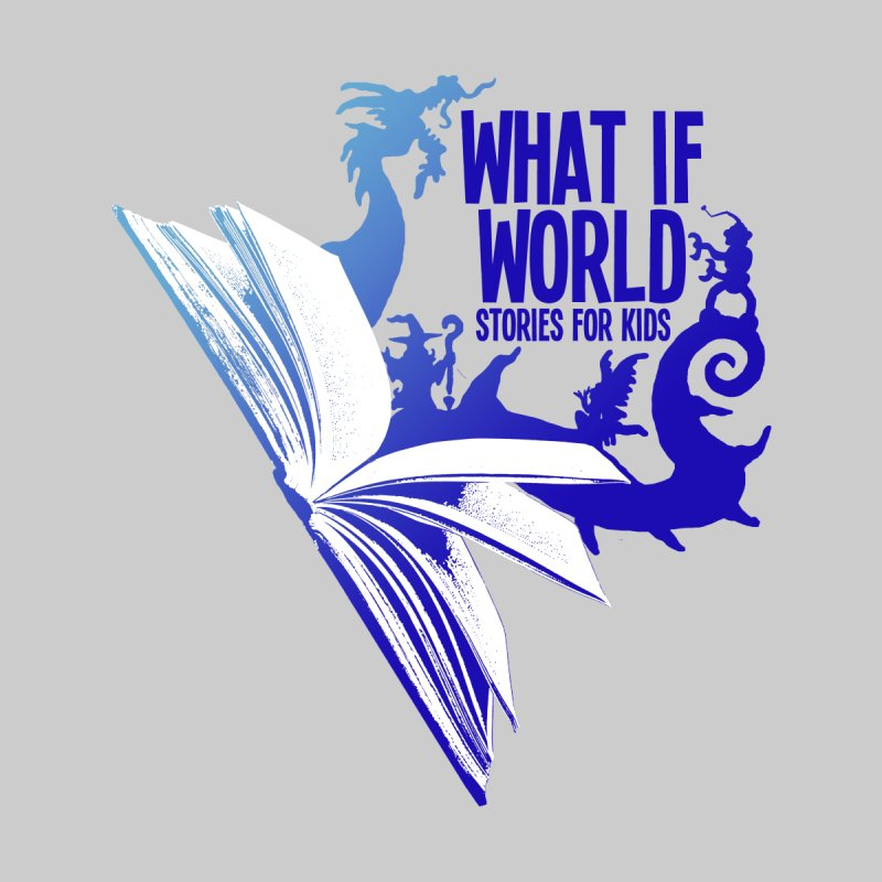 Book Logo - Blue! Kids T-Shirt by What If World's Imaginarium