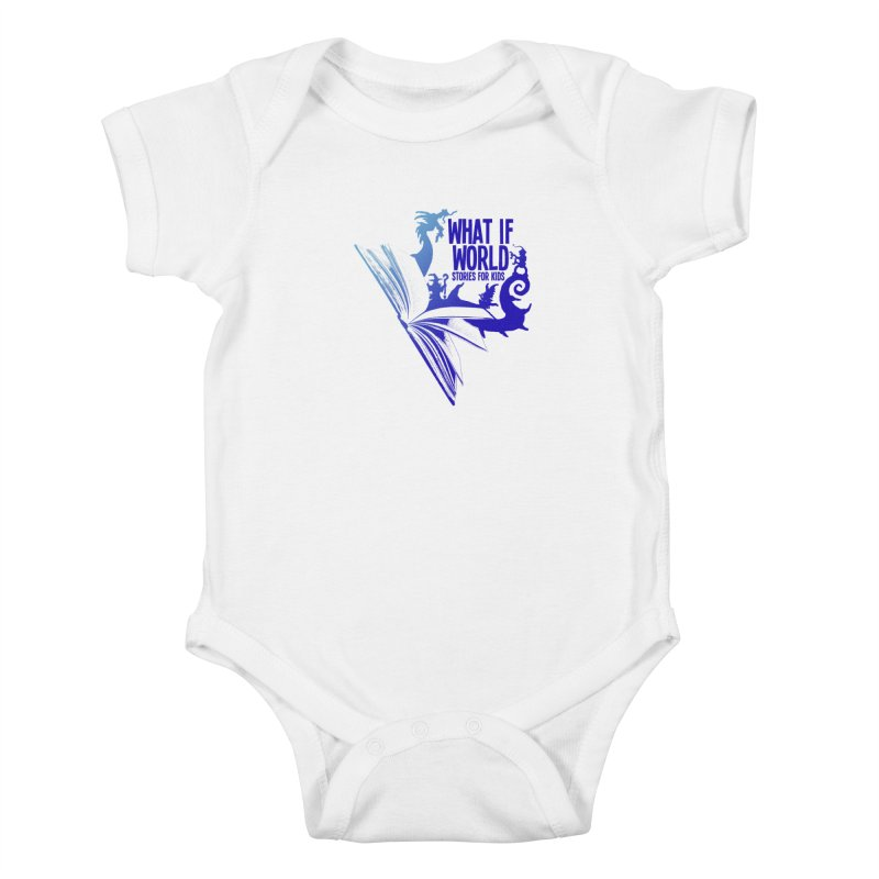 Book Logo - Blue! Kids Baby Bodysuit by What If World's Imaginarium