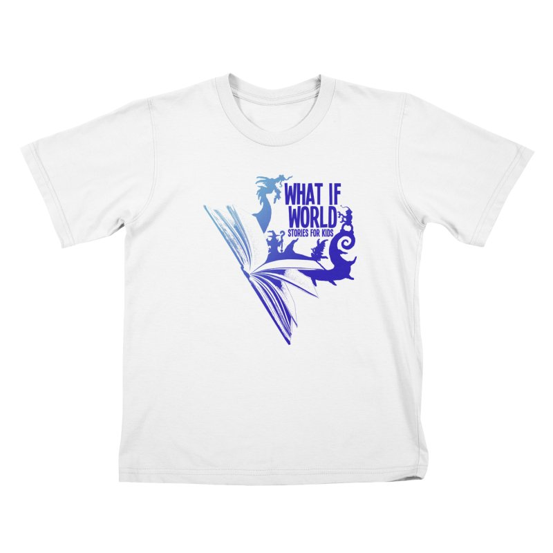 Book Logo - Blue! Kids T-Shirt by What If World's Imaginarium