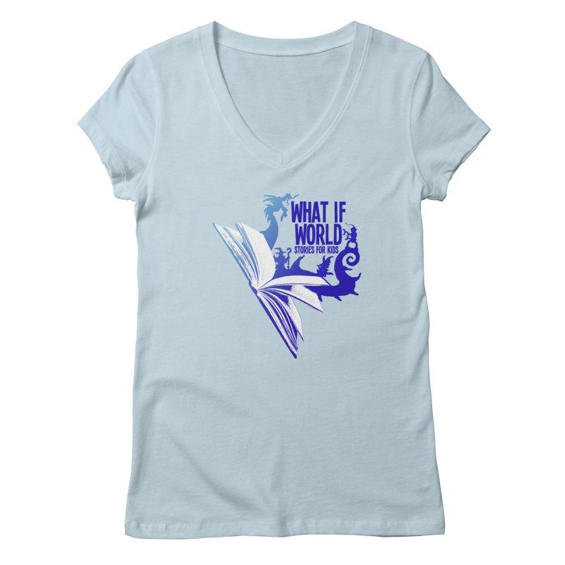 Book Logo - Blue! Women's V-Neck by What If World's Imaginarium