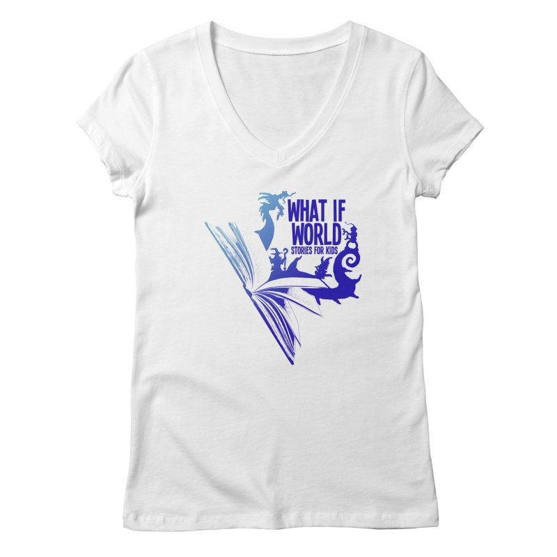 Book Logo - Blue! Women's Regular V-Neck by What If World's Imaginarium