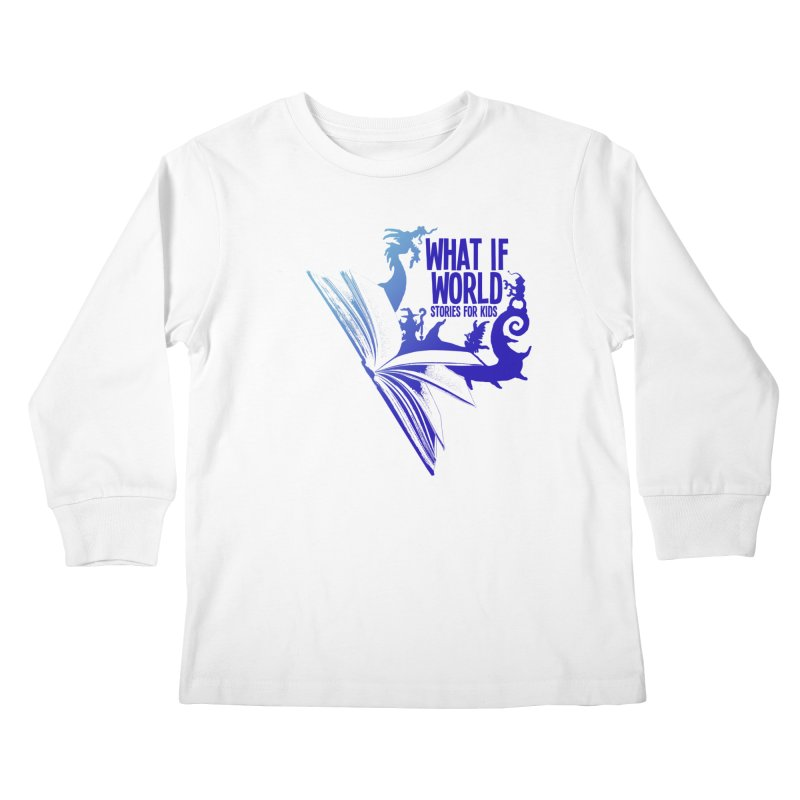 Book Logo - Blue! in Kids Longsleeve T-Shirt White by What If World's Imaginarium
