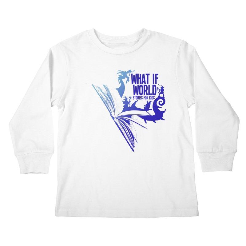 Book Logo - Blue! Kids Longsleeve T-Shirt by What If World's Imaginarium