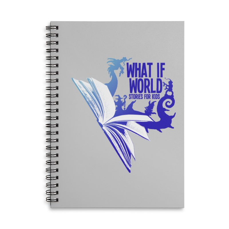 Book Logo - Blue! Accessories Lined Spiral Notebook by What If World's Imaginarium