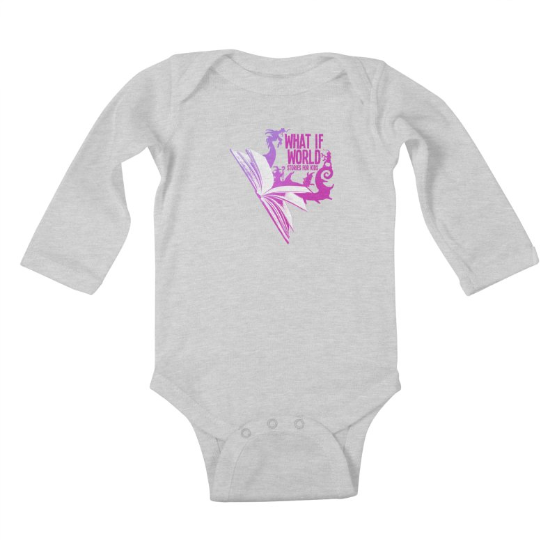 Book Logo - Purple Kids Baby Longsleeve Bodysuit by What If World's Imaginarium