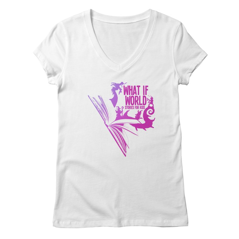 Book Logo - Purple Women's Regular V-Neck by What If World's Imaginarium
