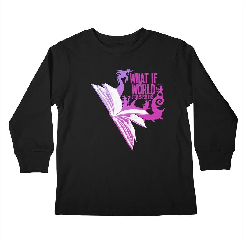 Book Logo - Purple Kids Longsleeve T-Shirt by What If World's Imaginarium