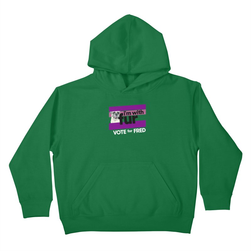 Vote for Fred (Purple) in Kids Pullover Hoody Kelly Green by What If World's Imaginarium