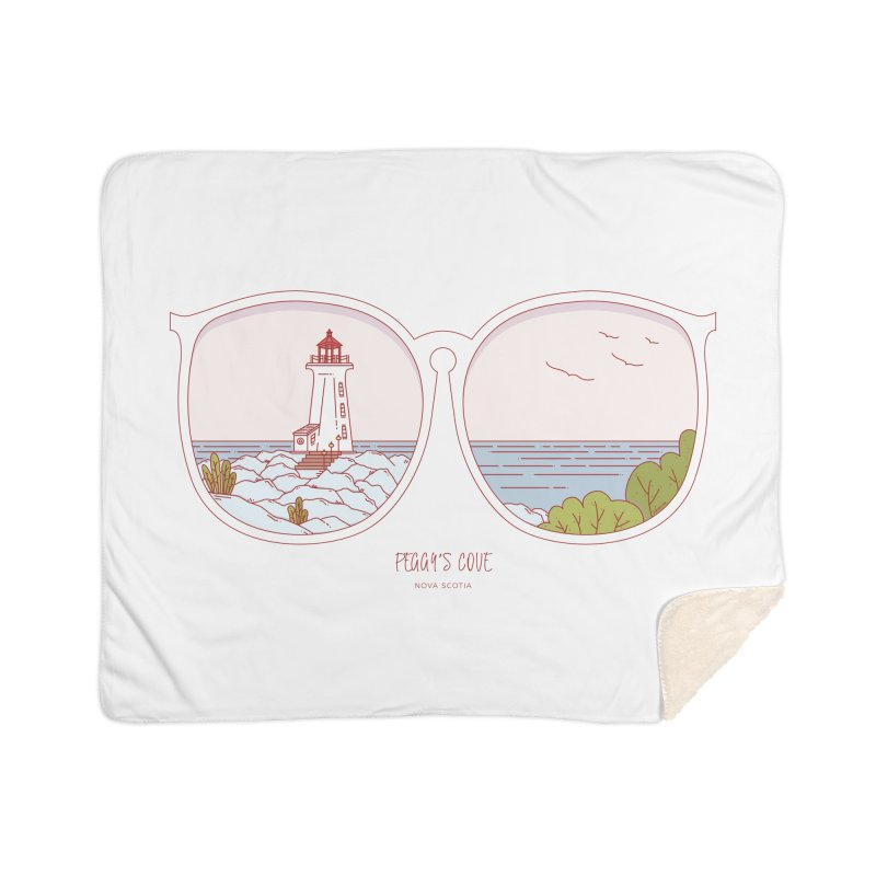 Canadian Sunnies | Peggy's Cove Home Sherpa Blanket Blanket by whitechaircreative's Artist Shop